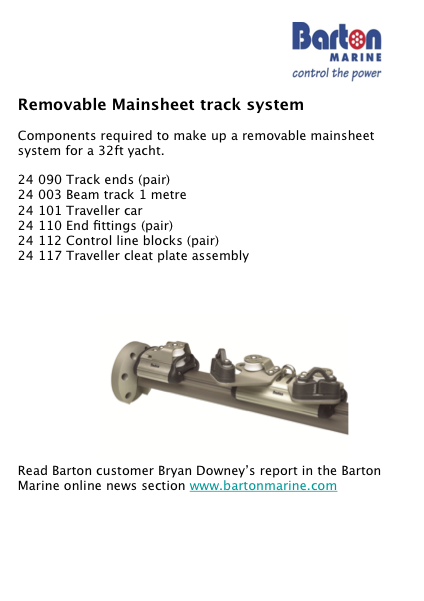 Barton Marine's Removable Mainsheet Assembly