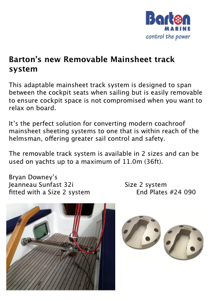 Barton Marine's New Removable Mainsheet Assembly