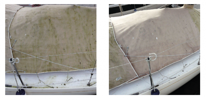 Another Wet & Forget 'before and after' picture.  On the left a boat cover covered in green algae, on the right, Wet & Forget has done its job and the same cover is now free from algae.