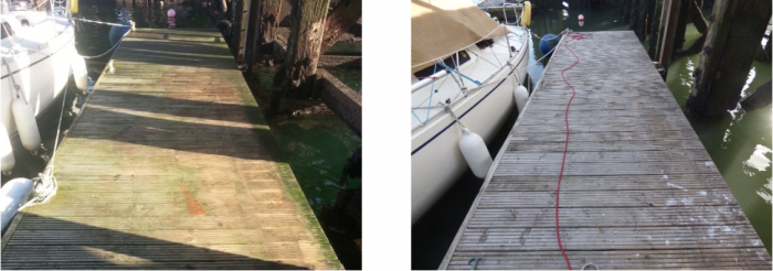 Wet & Forget 'before and after' picture. On the left a pontoon covered in green algae before the application of Wet & Forget. On the right an image of the same pontoon after Wet & Forget has done its work. The pontoon is now cleared of algae.