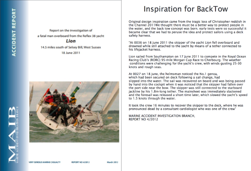 The inspiration for BackTow - Team O lifejacket