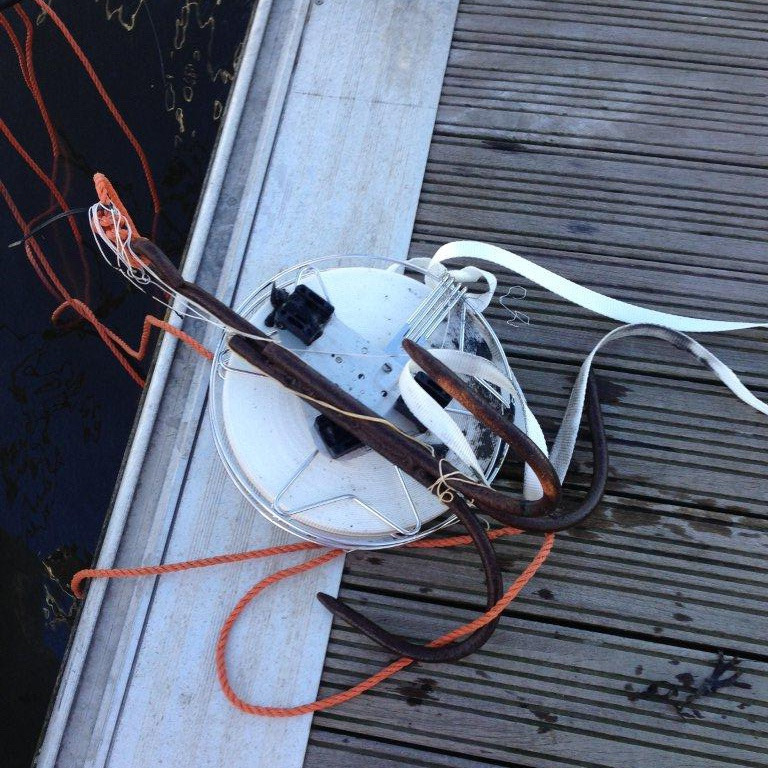 Nawa Stainless Steel Mooring Reel rescued from the marina using a grapnel anchor