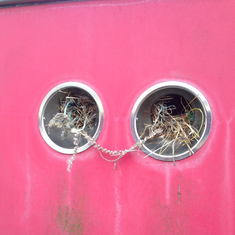 when down in the local boatyard today, I did notice and photographed the danger of leaving a rodent or bird entry