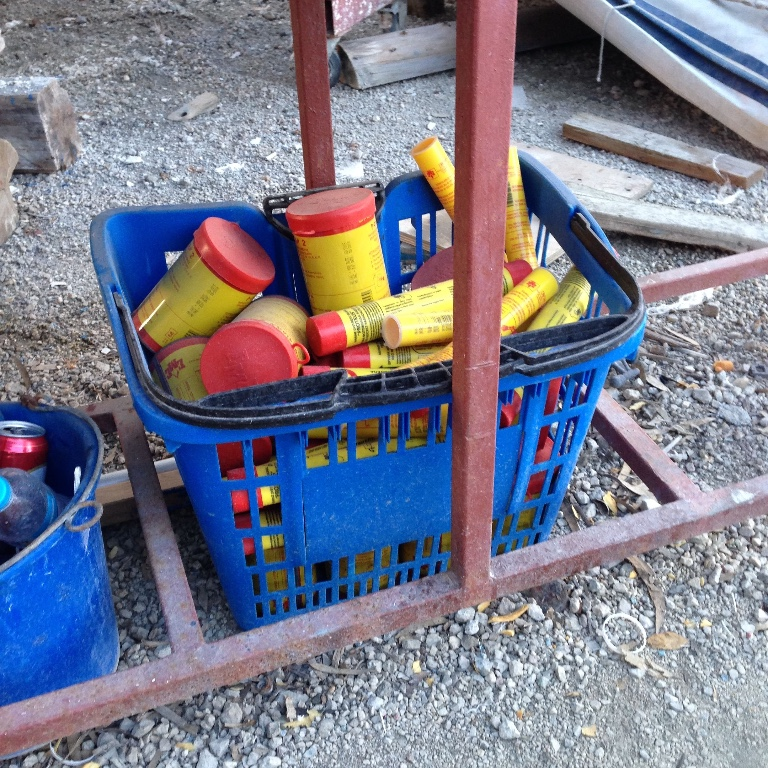 Flare disposal basket in Greece